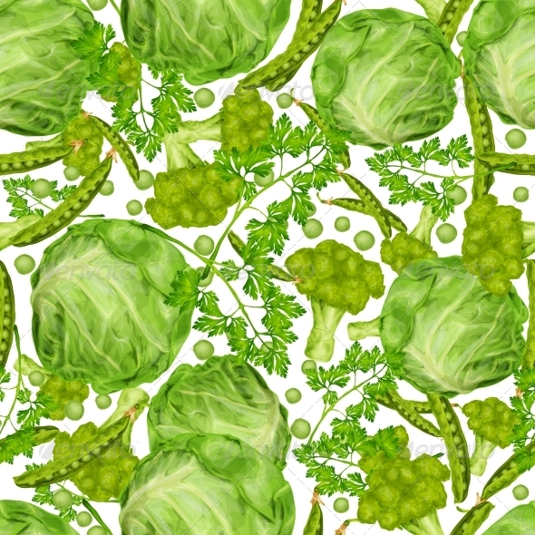 GraphicRiver Green Vegetables Seamless Pattern 8023277