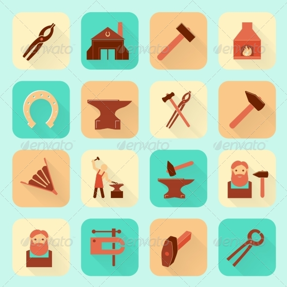 GraphicRiver Blacksmith Icons Set 8023281