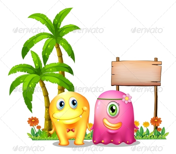 GraphicRiver Yellow and Pink Monster Couple Standing by a Sign 8023286