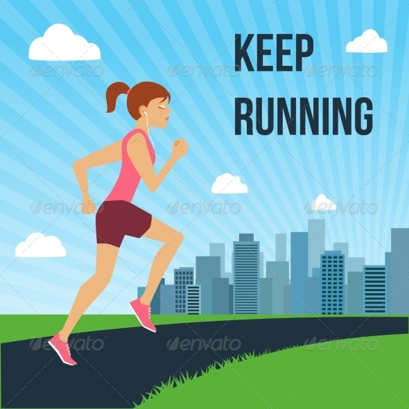 GraphicRiver Running Woman Poster 8023287
