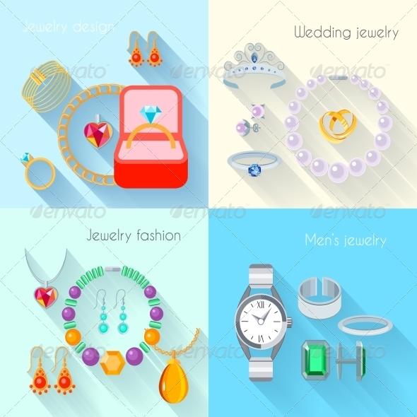 Flat Jewelry Icons