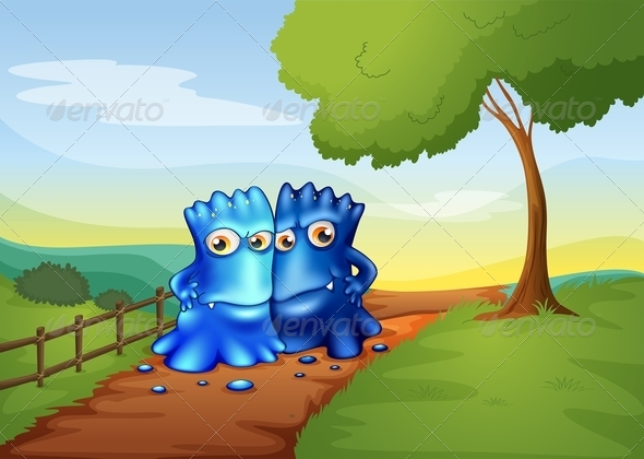 GraphicRiver Two Bestfriend Monsters on the Farm 8023339