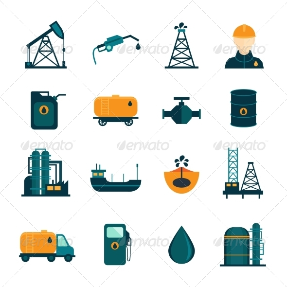 GraphicRiver Oil Industry Flat Icons 8023407