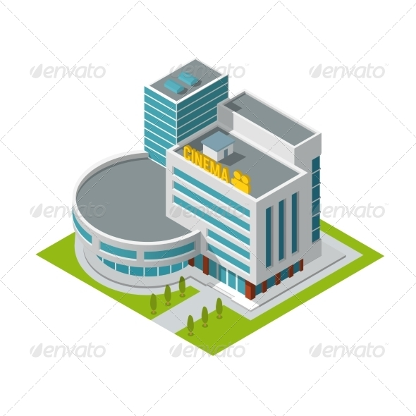 GraphicRiver Cinema Building Isometric 8023431