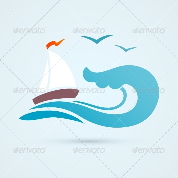 GraphicRiver Sail Ship Wave Icon 8023434