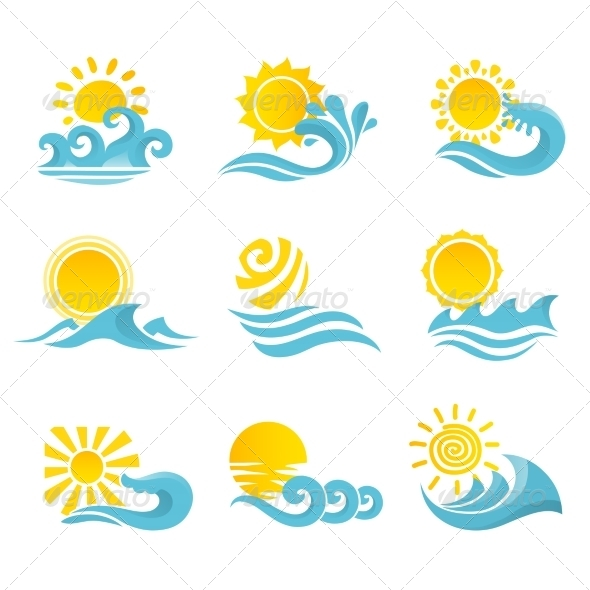 GraphicRiver Waves Sun Icons Set 8023435