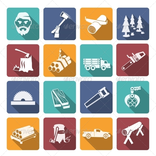 GraphicRiver Lumberjack Woodcutter Icons 8023449