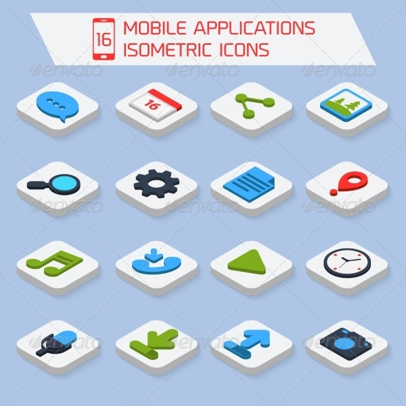 GraphicRiver Mobile Applications Isometric Icons 8023471