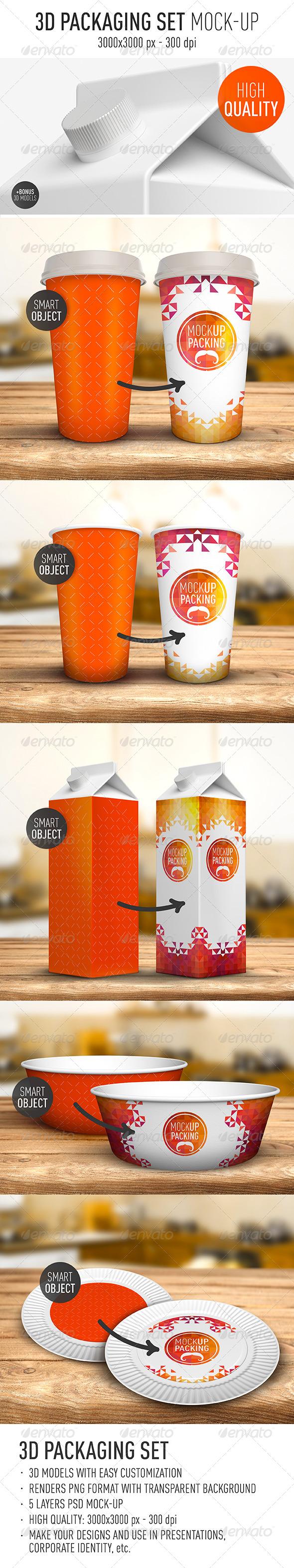 GraphicRiver Packaging Set Mock-Up 8023495
