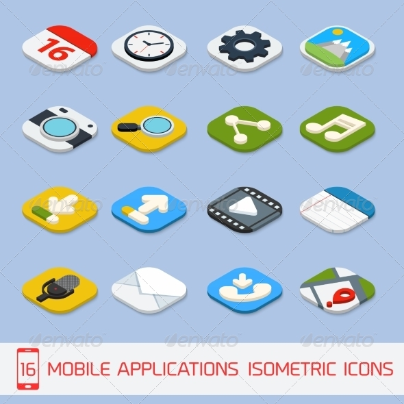 GraphicRiver Mobile Applications Isometric Icons 8023491