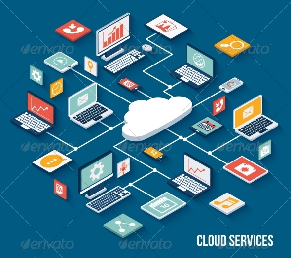 GraphicRiver Mobile Cloud Services Isometric 8023499
