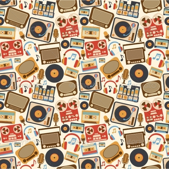 GraphicRiver Music Retro Seamless Pattern 8023505