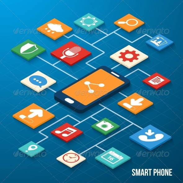 GraphicRiver Mobile Applications Isometric Icons 8023507
