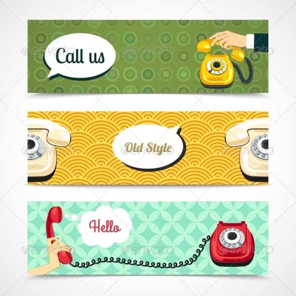 GraphicRiver Old Telephone Banners Horizontal 8023516