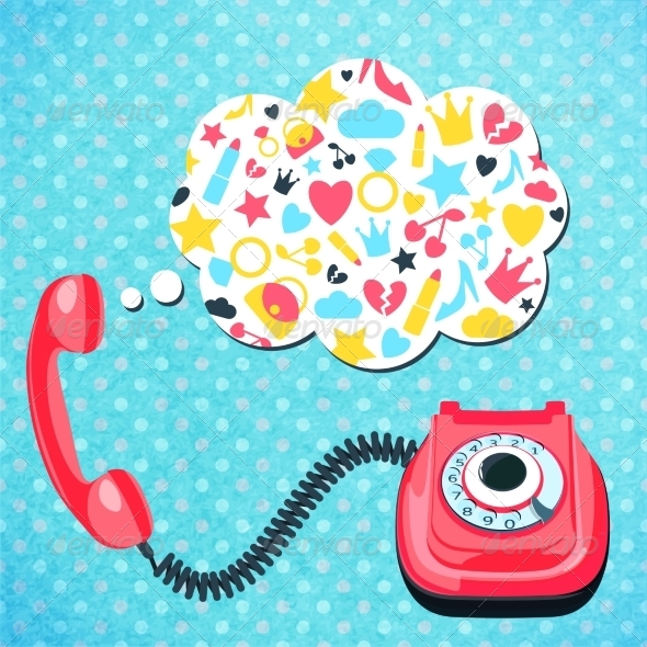 GraphicRiver Old Telephone Chat Concept 8023517