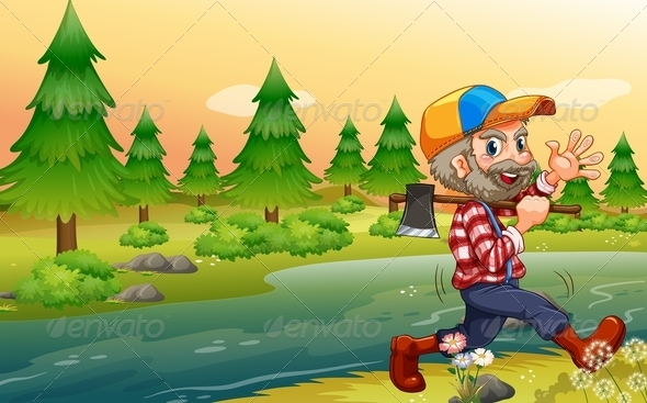 Lumberjack Carrying an Axe While Walking