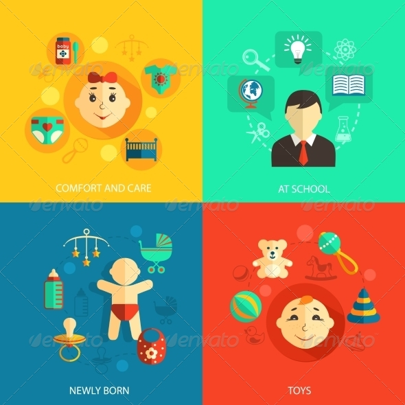 GraphicRiver Children Concept Flat Icons 8023535