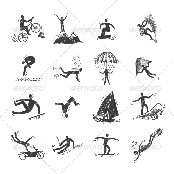 GraphicRiver Extreme Sports Icons Sketch 8023556