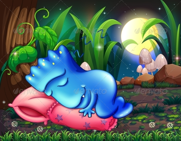 GraphicRiver Monster Sleeping on a Pillow Under a Tree 8023564