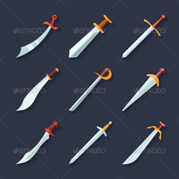 GraphicRiver Flat Sword Icons 8023606