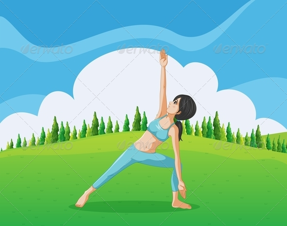 GraphicRiver Slim Girl Doing Yoga at the Top of the Hill 8023607
