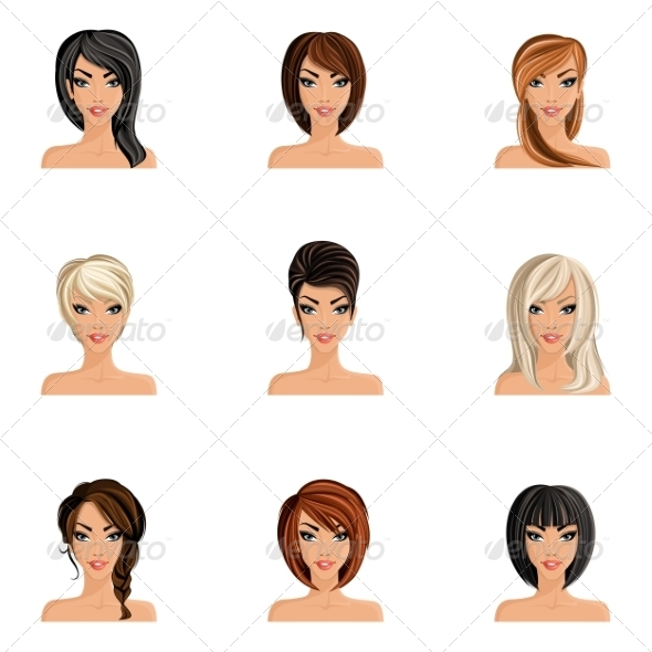 GraphicRiver Girl Hair Style Set 8023612