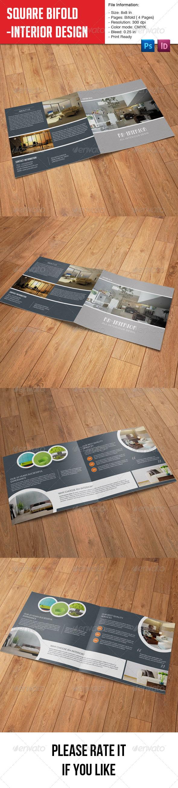 GraphicRiver Square Bifold Brochure-Interior Design 8023615