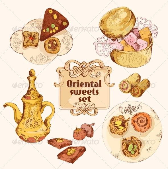 GraphicRiver Oriental Sweets Colored Set 8023616