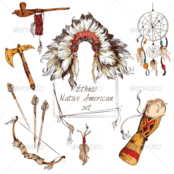 GraphicRiver Ethnic Native American Set Colored 8023623