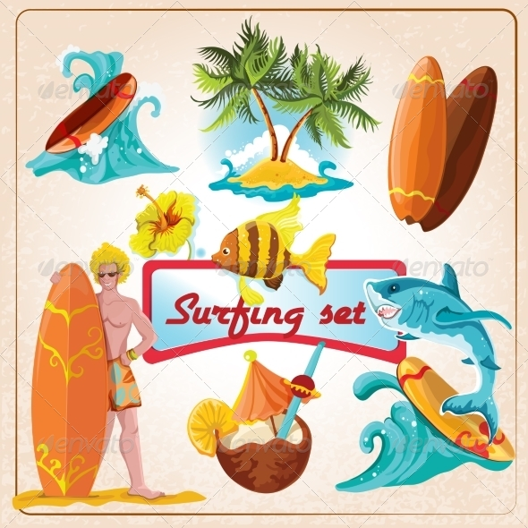 GraphicRiver Surfing Elements Set 8023640