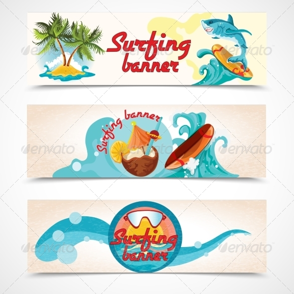GraphicRiver Surfing Banners Set 8023647