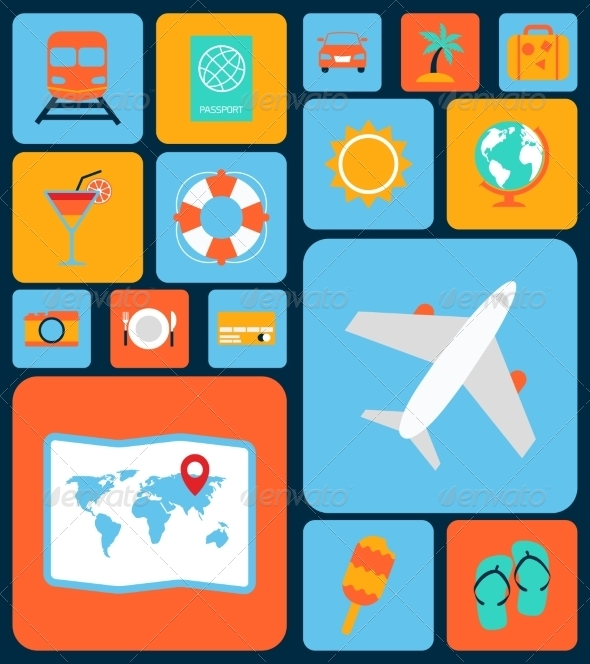 GraphicRiver Travel Icons Flat Set 8023654