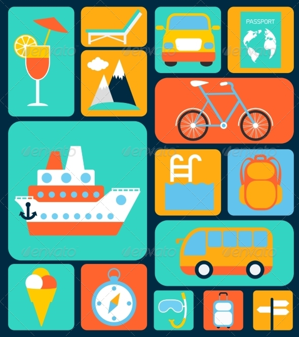 GraphicRiver Travel Flat Icons Set 8023655