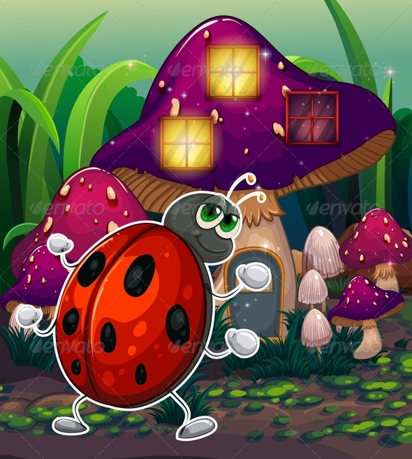 Bug in Front of a Lighted Mushroom House