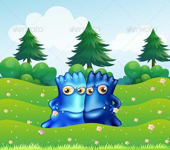 GraphicRiver Two Blue Monsters on a Hilltop with Pine Trees 8023717