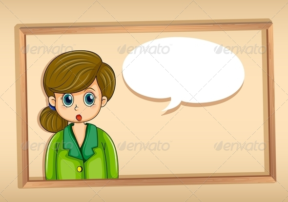 GraphicRiver Frame with a Woman and Empty Cloud Callout 8023722