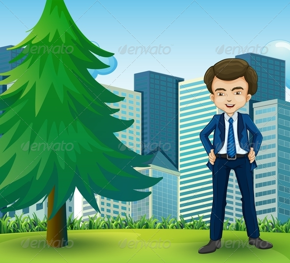 GraphicRiver Happy Businessman Standing Near a Pine Tree 8023725