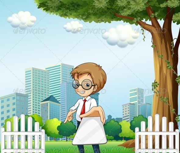 GraphicRiver Businessman Holding a Gadget Under a Tree 8023728