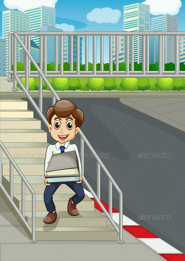 GraphicRiver Smiling Man on Stairs Bringing Documents 8023735