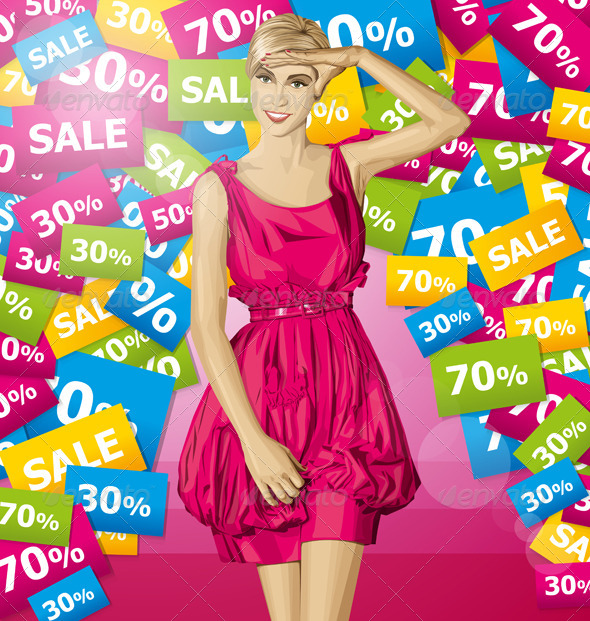 GraphicRiver Surprised Blonde in Pink Dress 8023751