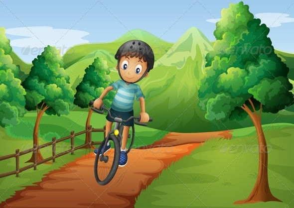 GraphicRiver Boy Biking to a Farm 8023760