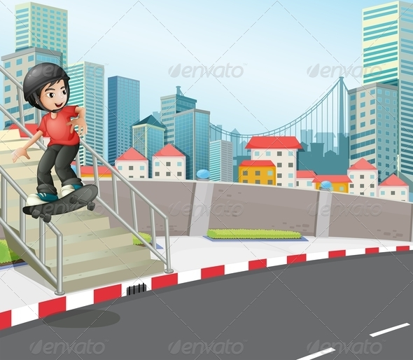 GraphicRiver Boy Skateboarding on the Street Stairs 8023767