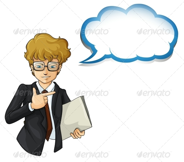 GraphicRiver Businessman with an Empty Cloud Template 8023785