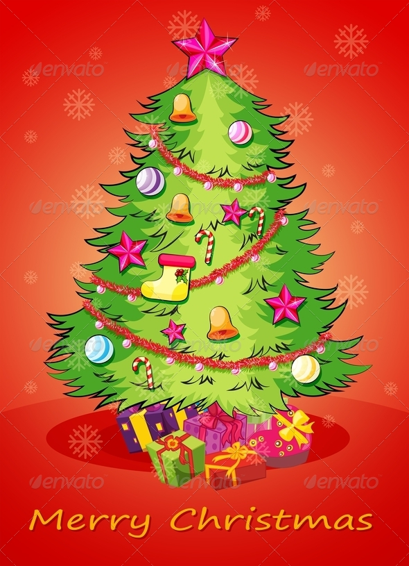 GraphicRiver Christmas Card with a Giant Christmas Tree 8023790