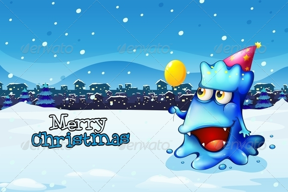 Christmas Card Template with a Blue Monster