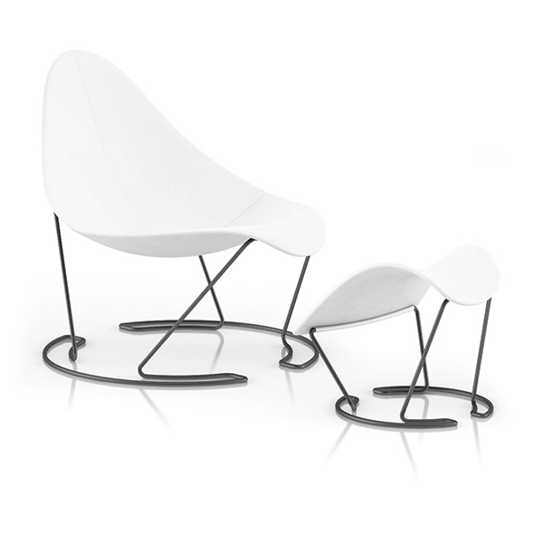 3DOcean White Lounge Chair with Footrest 8023811
