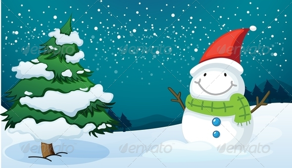 Smiling Snowman Near a Pine Tree