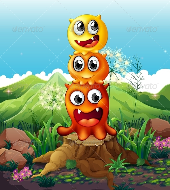 GraphicRiver Three Playful Monsters on a Stump 8023880