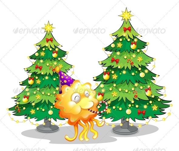 GraphicRiver Two Christmas Trees and a Happy Monster 8023957