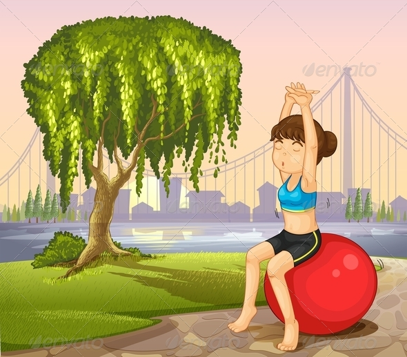 GraphicRiver Girl Exercising with a Bouncing Ball 8024084